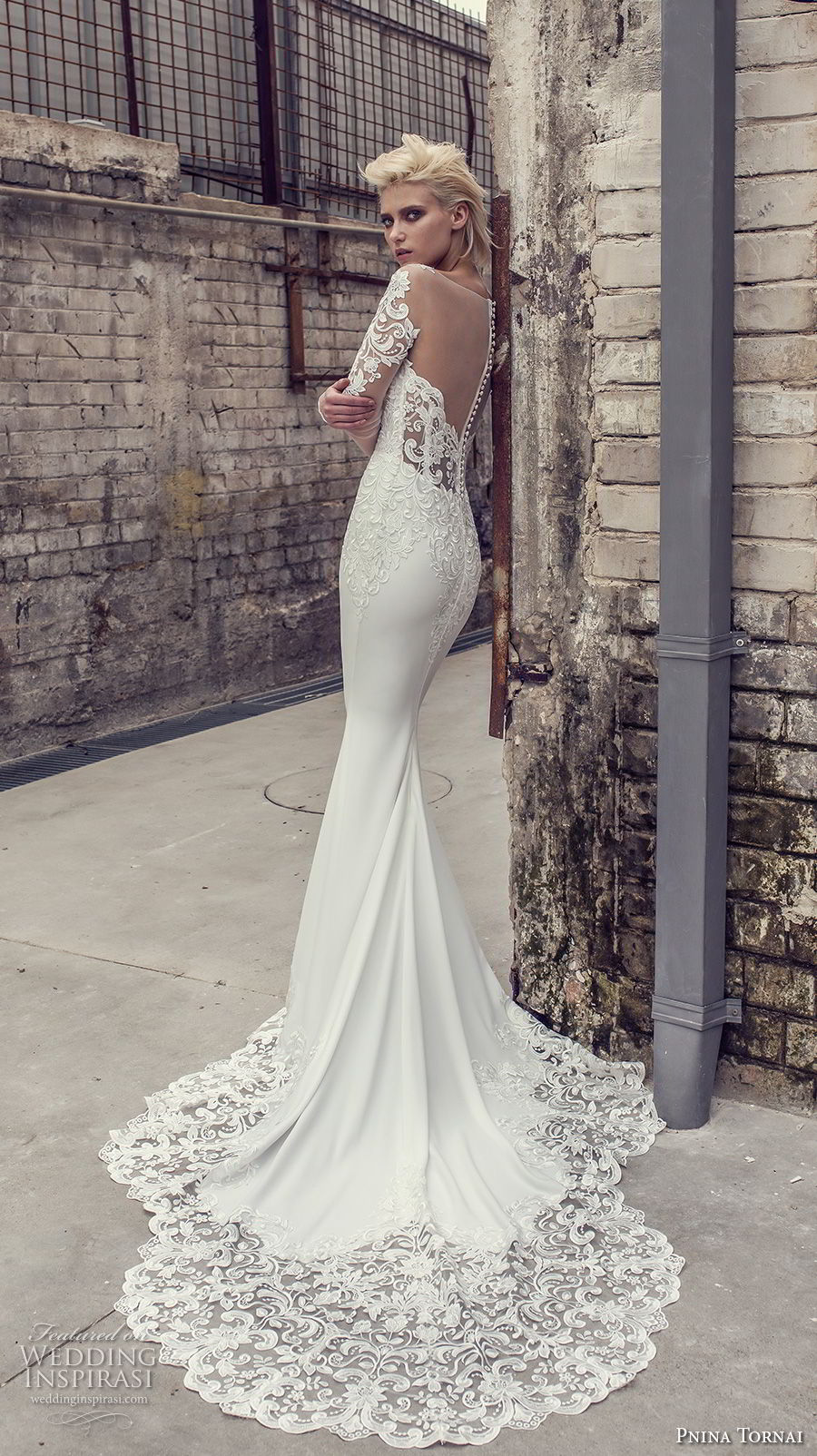 pnina tornai 2019 love bridal long sleeves deep plunging v neck heavily embellished bodice elegant sheath wedding dress sheer button back chapel train (10) bv mv