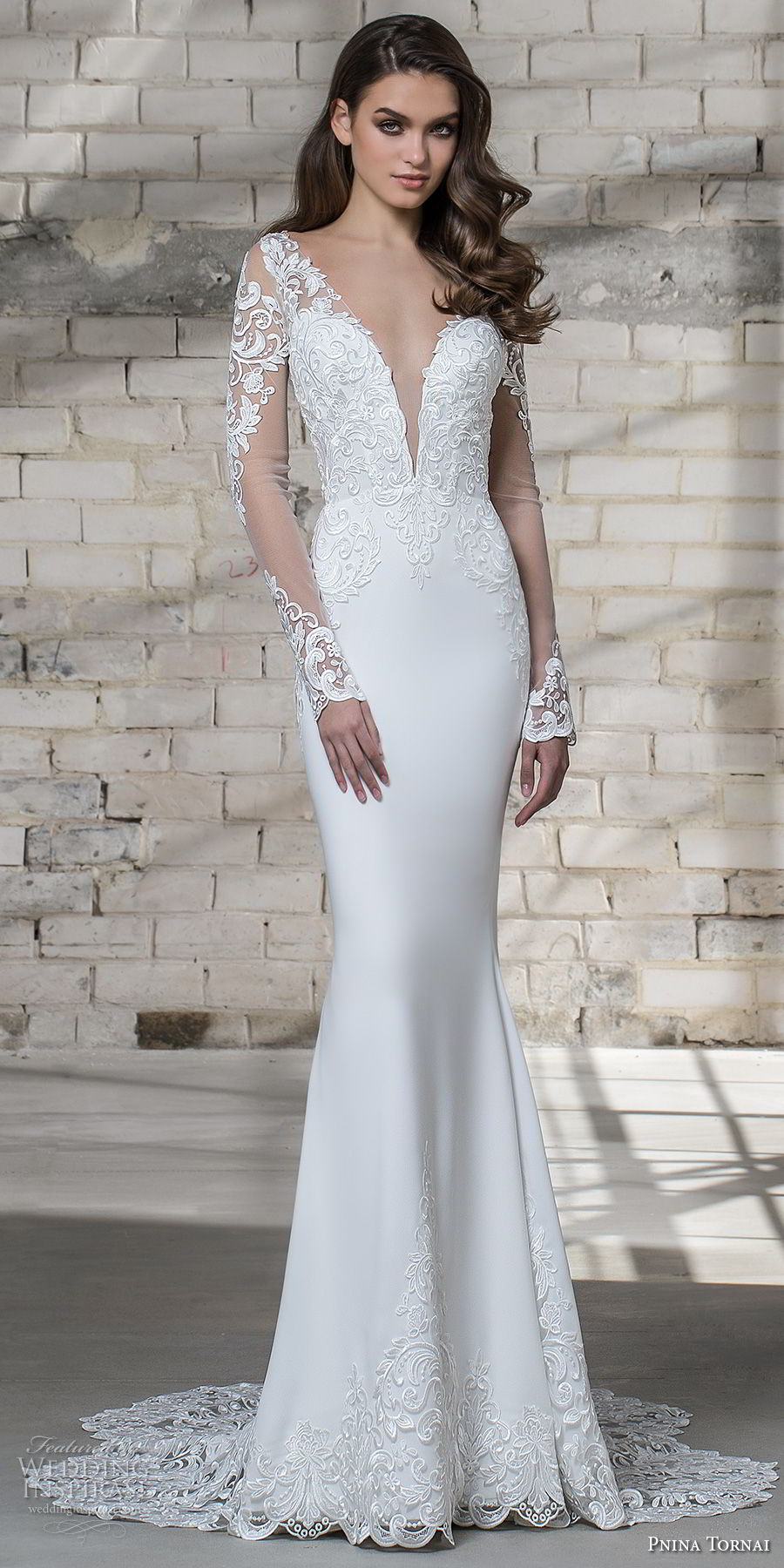 pnina tornai 2019 love bridal long sleeves deep plunging v neck heavily embellished bodice elegant sheath wedding dress sheer button back chapel train (10) fv