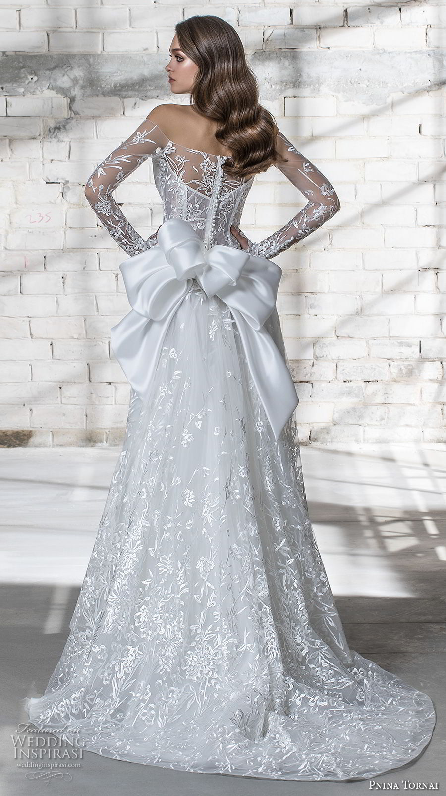pnina tornai 2019 love bridal long sleeves off the shoulder straight across neckline full embellishment romantic modified a line wedding dress sheer lace back sweep train (3) bv