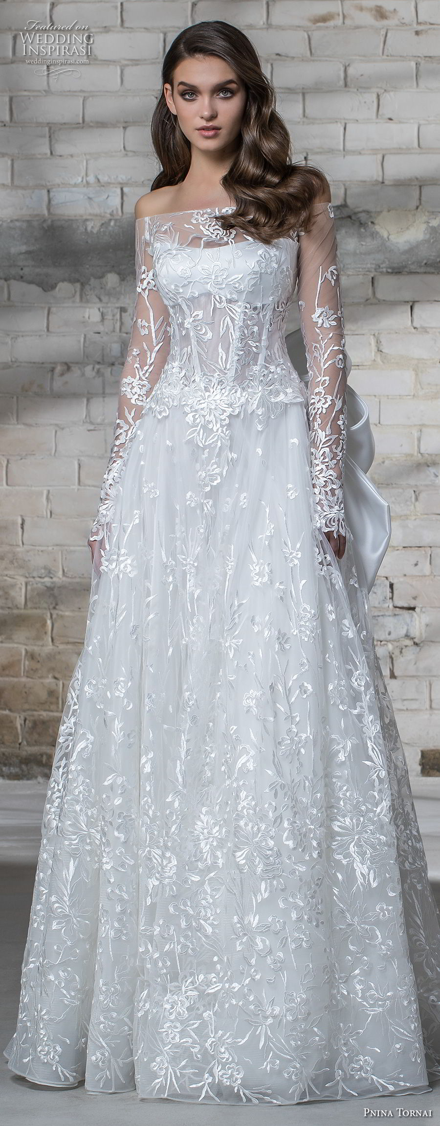 pnina tornai 2019 love bridal long sleeves off the shoulder straight across neckline full embellishment romantic modified a line wedding dress sheer lace back sweep train (3) lv