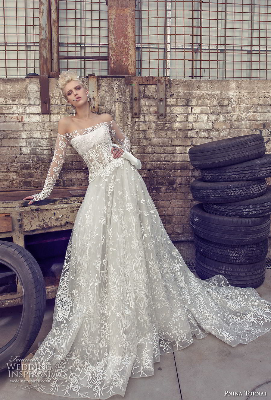 pnina tornai 2019 love bridal long sleeves off the shoulder straight across neckline full embellishment romantic modified a line wedding dress sheer lace back sweep train (3) mv