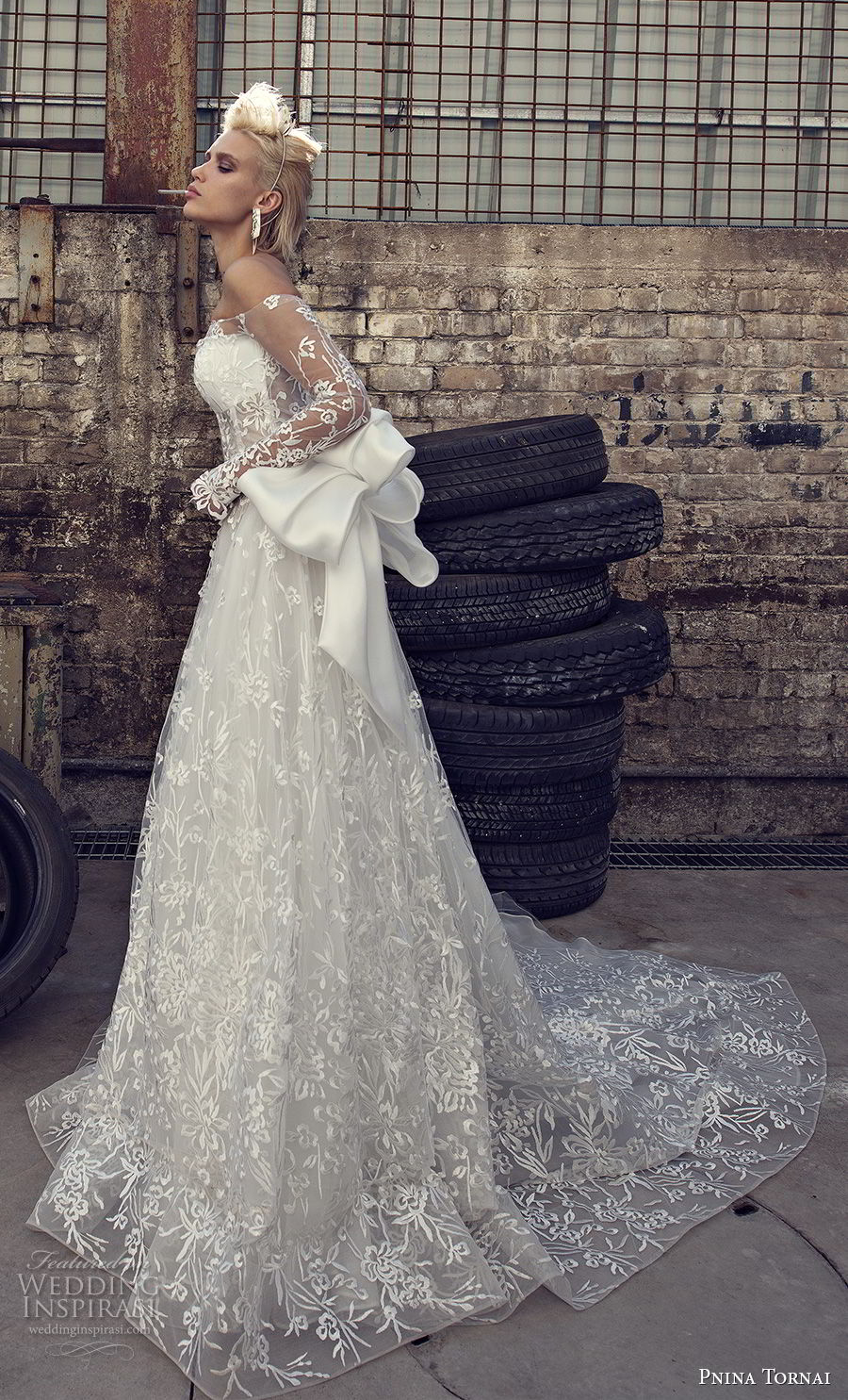 pnina tornai 2019 love bridal long sleeves off the shoulder straight across neckline full embellishment romantic modified a line wedding dress sheer lace back sweep train (3) sdv