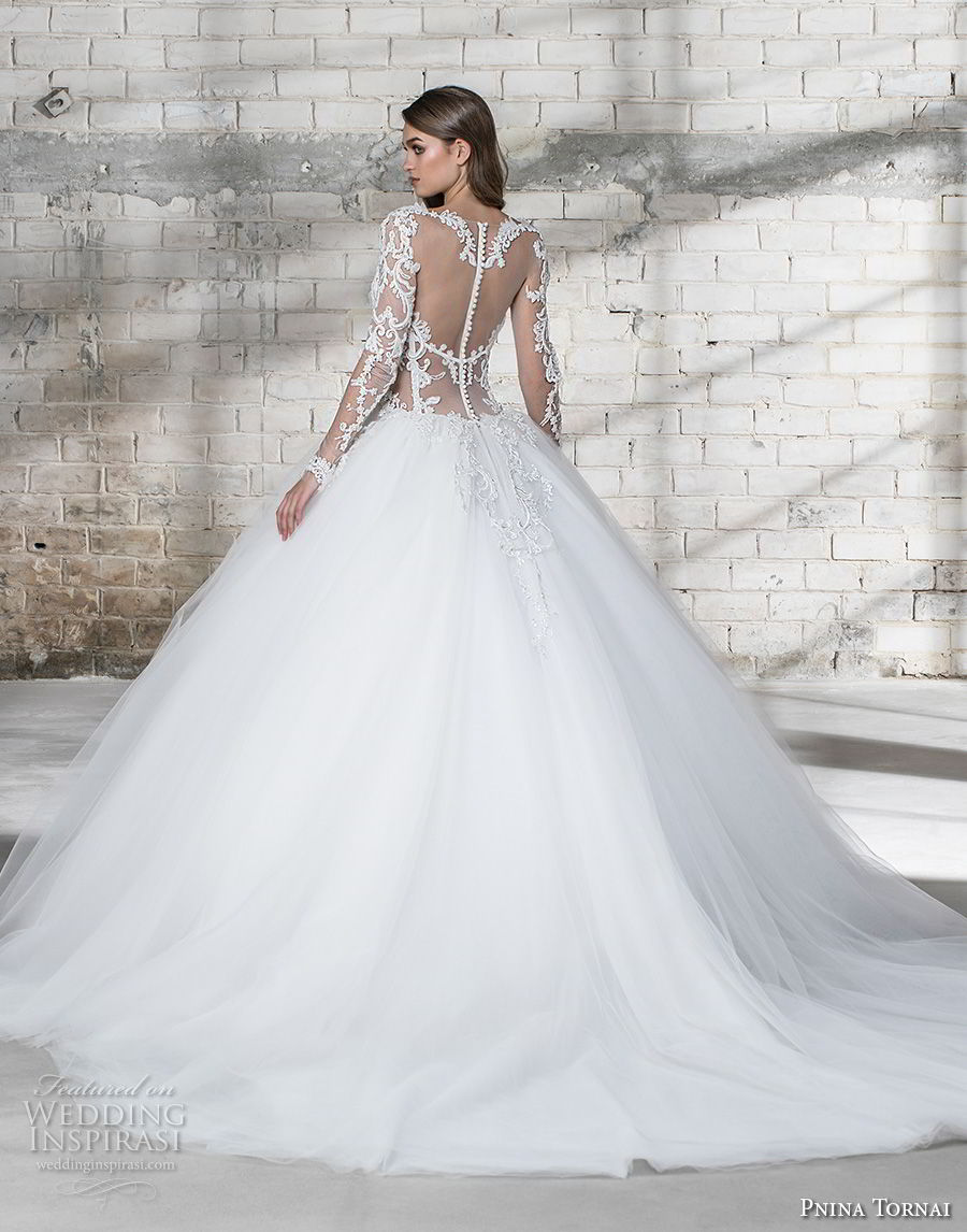 pnina tornai 2019 love bridal long sleeves sheer v sweetheart neckline heavily embellished bodice tulle skirt princess ball gown a line wedding dress sheer button back chapel train (2) bv