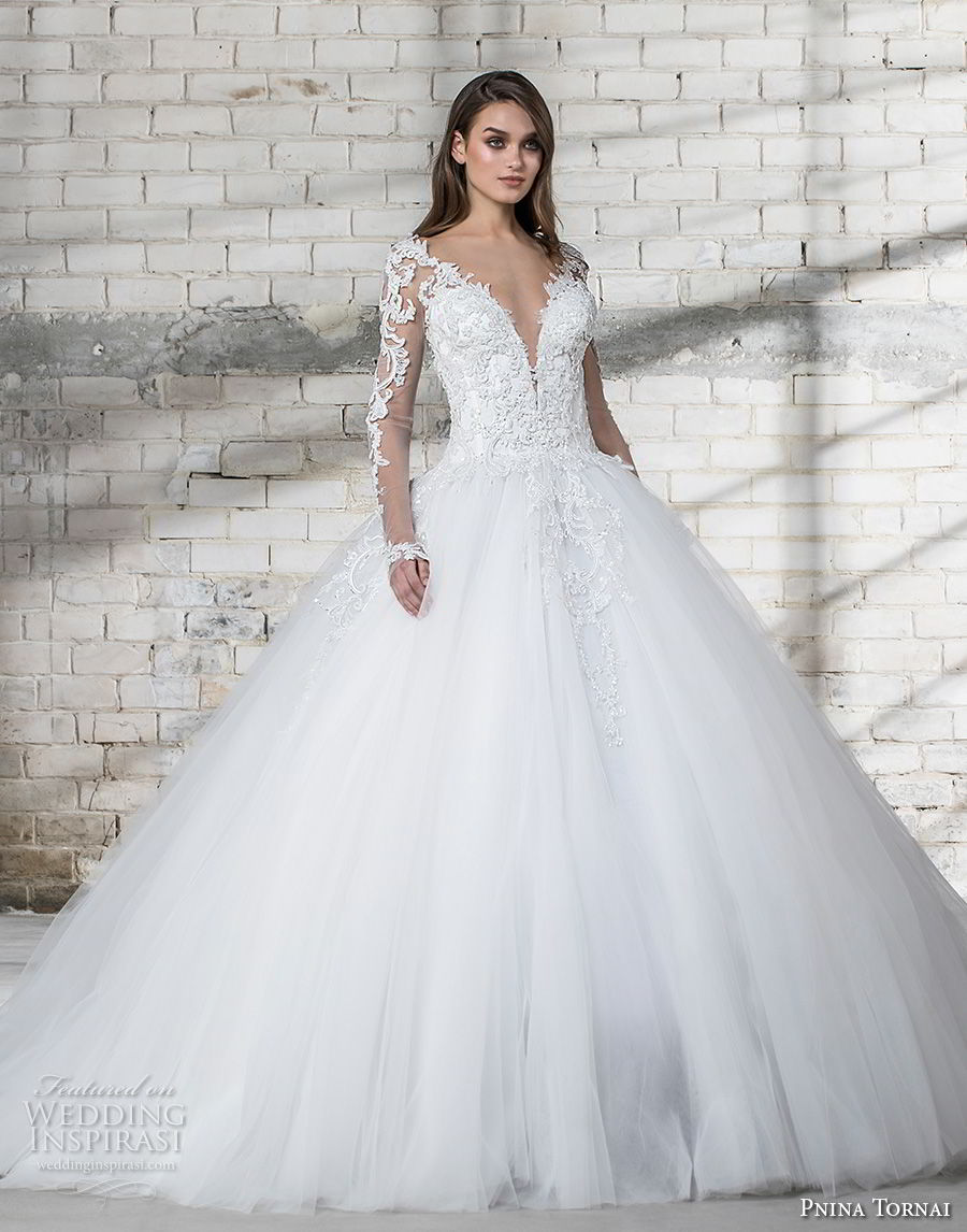 pnina tornai 2019 love bridal long sleeves sheer v sweetheart neckline heavily embellished bodice tulle skirt princess ball gown a line wedding dress sheer button back chapel train (2) mv