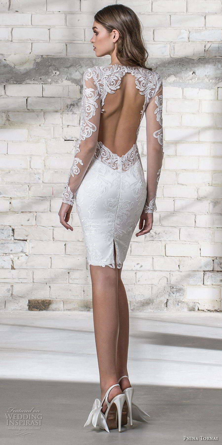 pnina tornai 2019 love bridal long sleeves v neck full embellishment modern romantic above the knee short wedding dress miniskirt keyhole back (12) bv