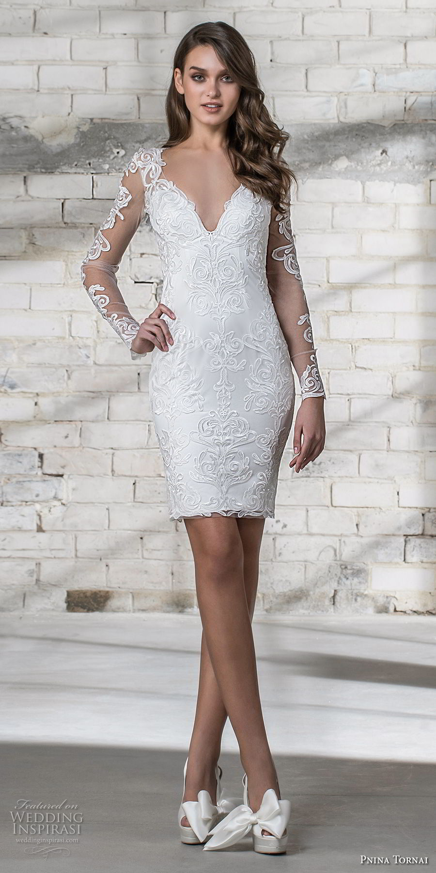 pnina tornai 2019 love bridal long sleeves v neck full embellishment modern romantic above the knee short wedding dress miniskirt keyhole back (12) mv