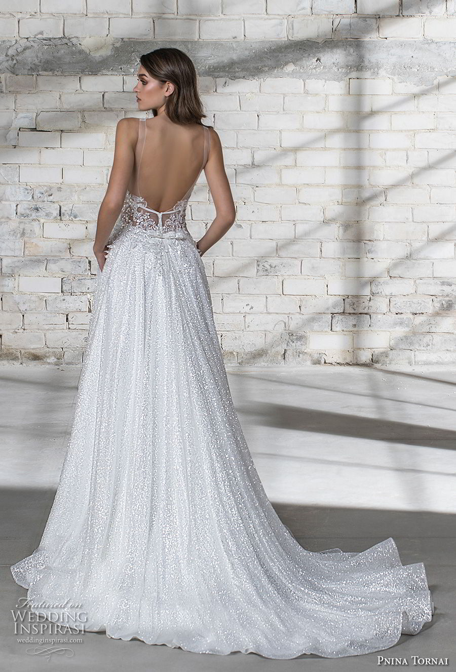 pnina tornai 2019 love bridal sleeveless deep plunging v neck light embellishment glitzy glitter romantic glamorous a line wedding dress with pockets open back chapel train (4) bv