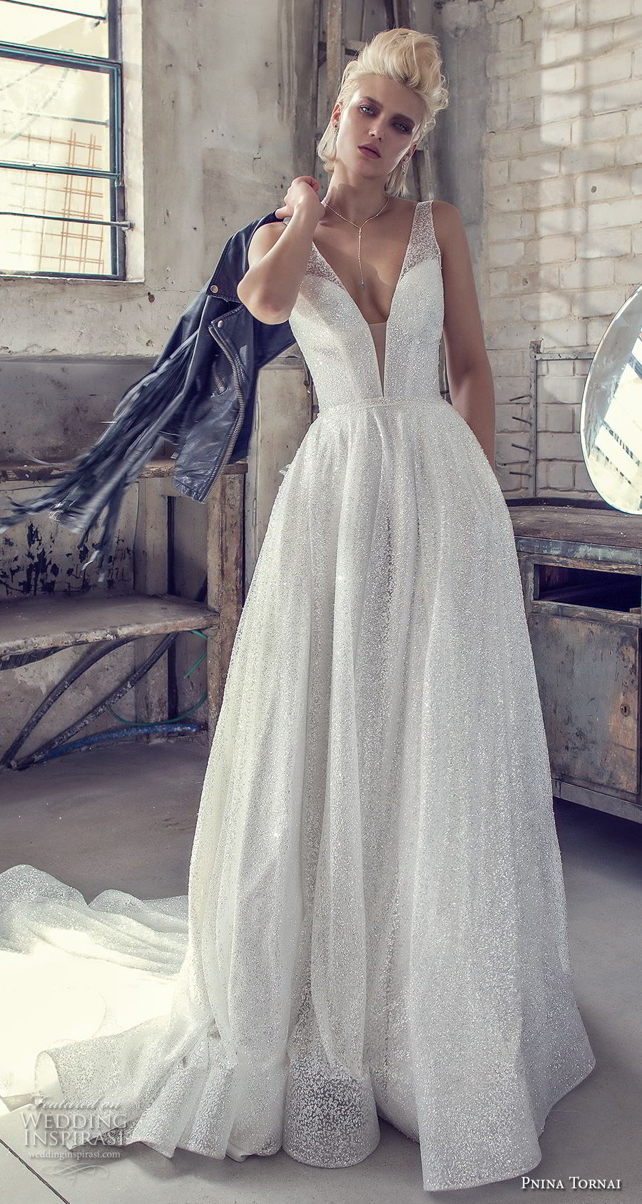 pnina tornai 2019 love bridal sleeveless deep plunging v neck light embellishment glitzy glitter romantic glamorous a line wedding dress with pockets open back chapel train (4) mv