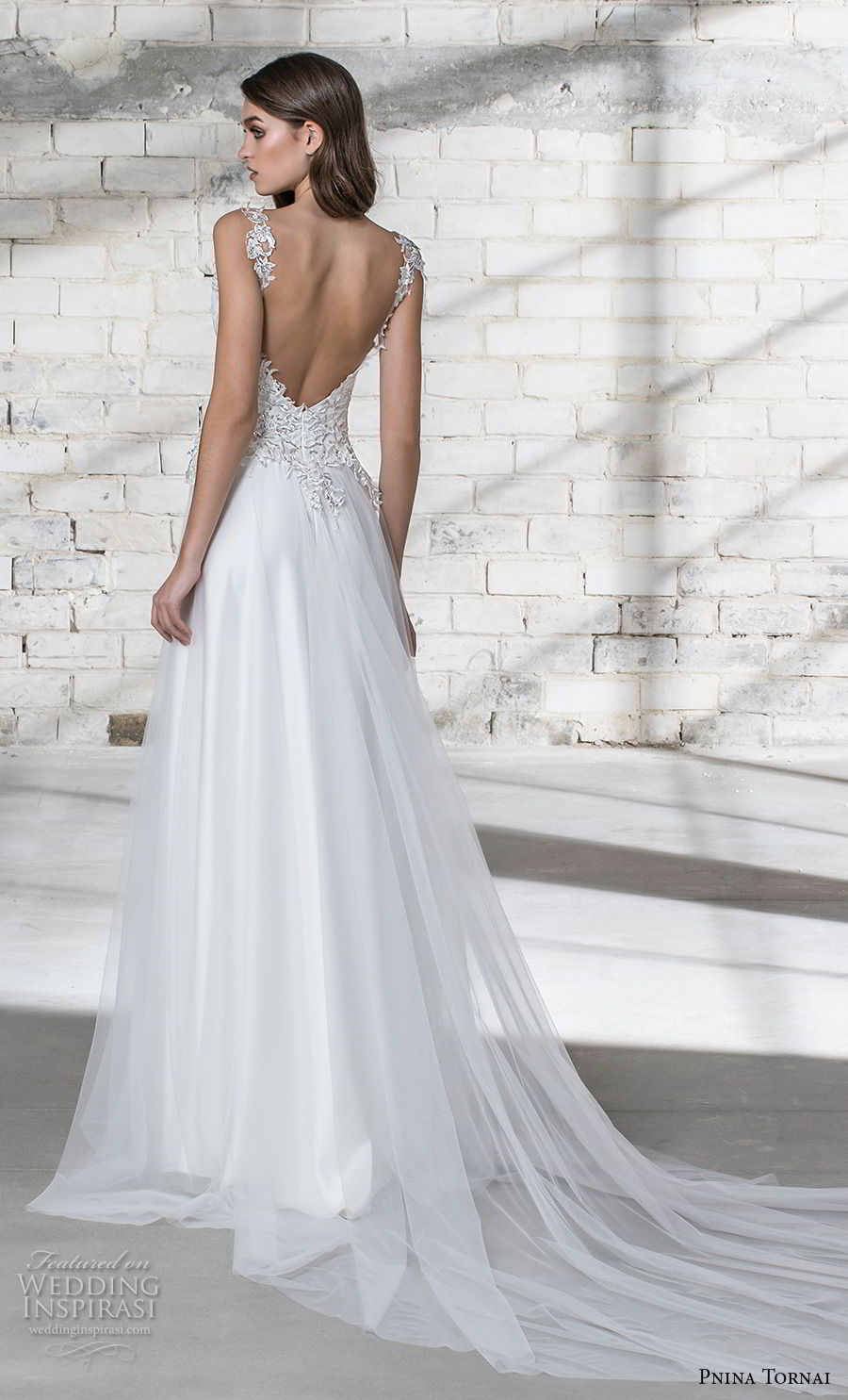 pnina tornai 2019 love bridal sleeveless thick strap deep plunging v neck heavily embellished bodice romantic modified a line wedding dress open back panel chapel train (7) bv