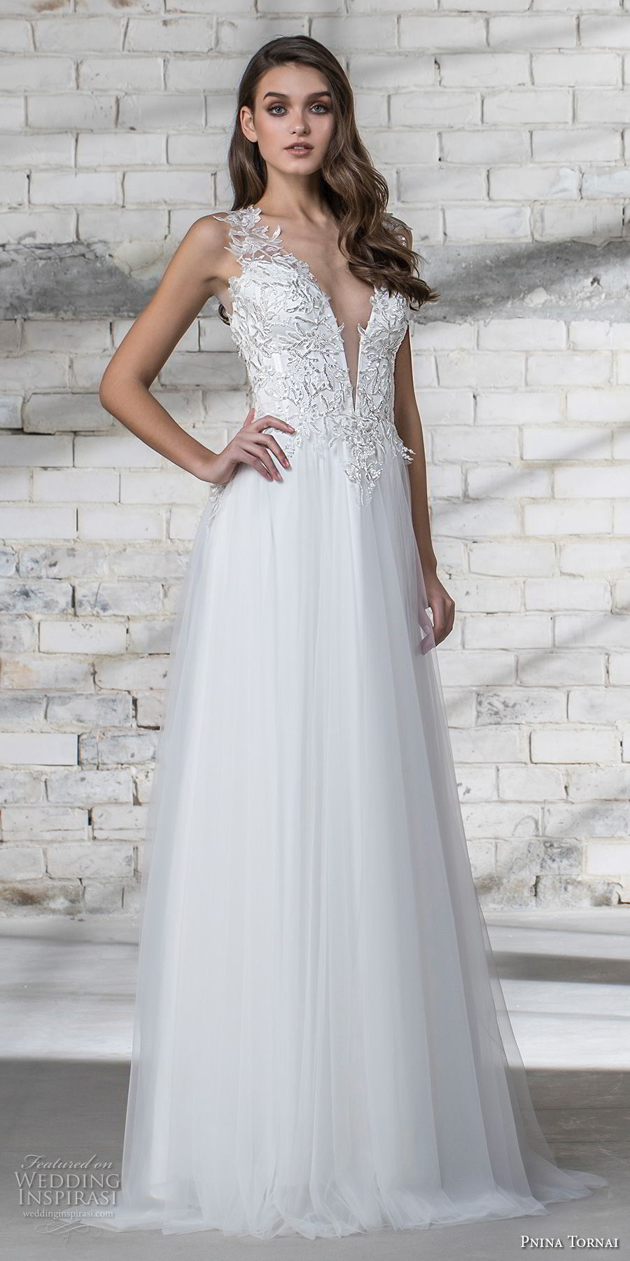 pnina tornai 2019 love bridal sleeveless thick strap deep plunging v neck heavily embellished bodice romantic modified a line wedding dress open back panel chapel train (7) lv