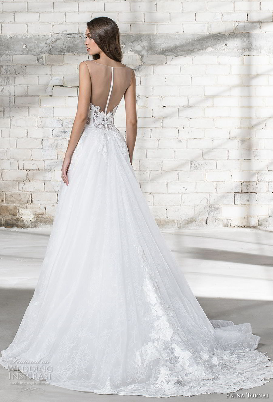 pnina tornai 2019 love bridal sleeveless thick strap plunging sweetheart neckline heavily embellised bodice romantic a line wedding dress sheer button back chapel train (11) bv