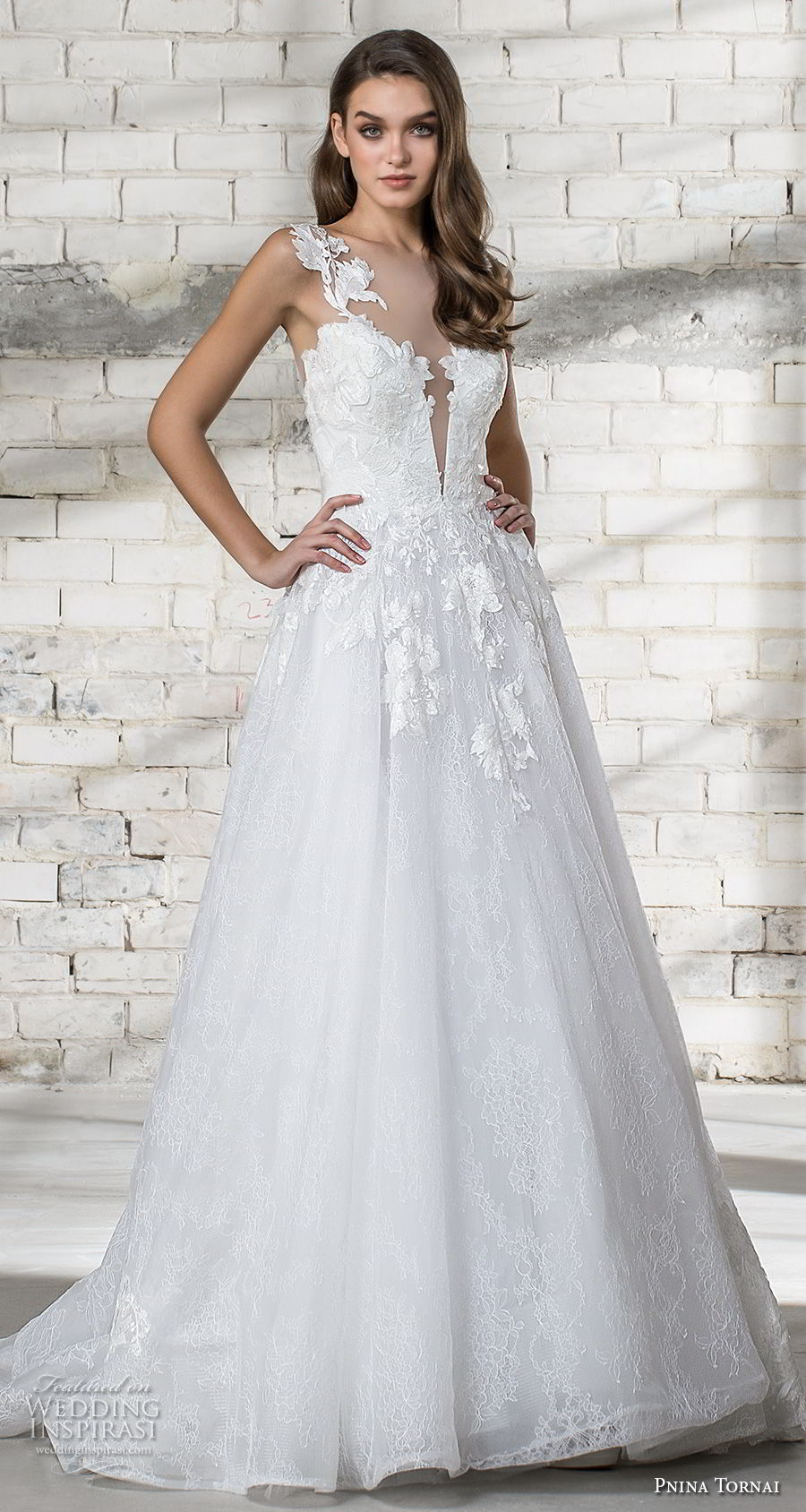 pnina tornai 2019 love bridal sleeveless thick strap plunging sweetheart neckline heavily embellised bodice romantic a line wedding dress sheer button back chapel train (11) mv