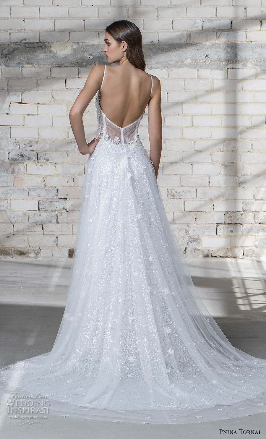 pnina tornai 2019 love bridal spaghetti strap deep sweetheart neckline heavily embellished bodice romantic a line wedding dress open back chapel train (6) bv