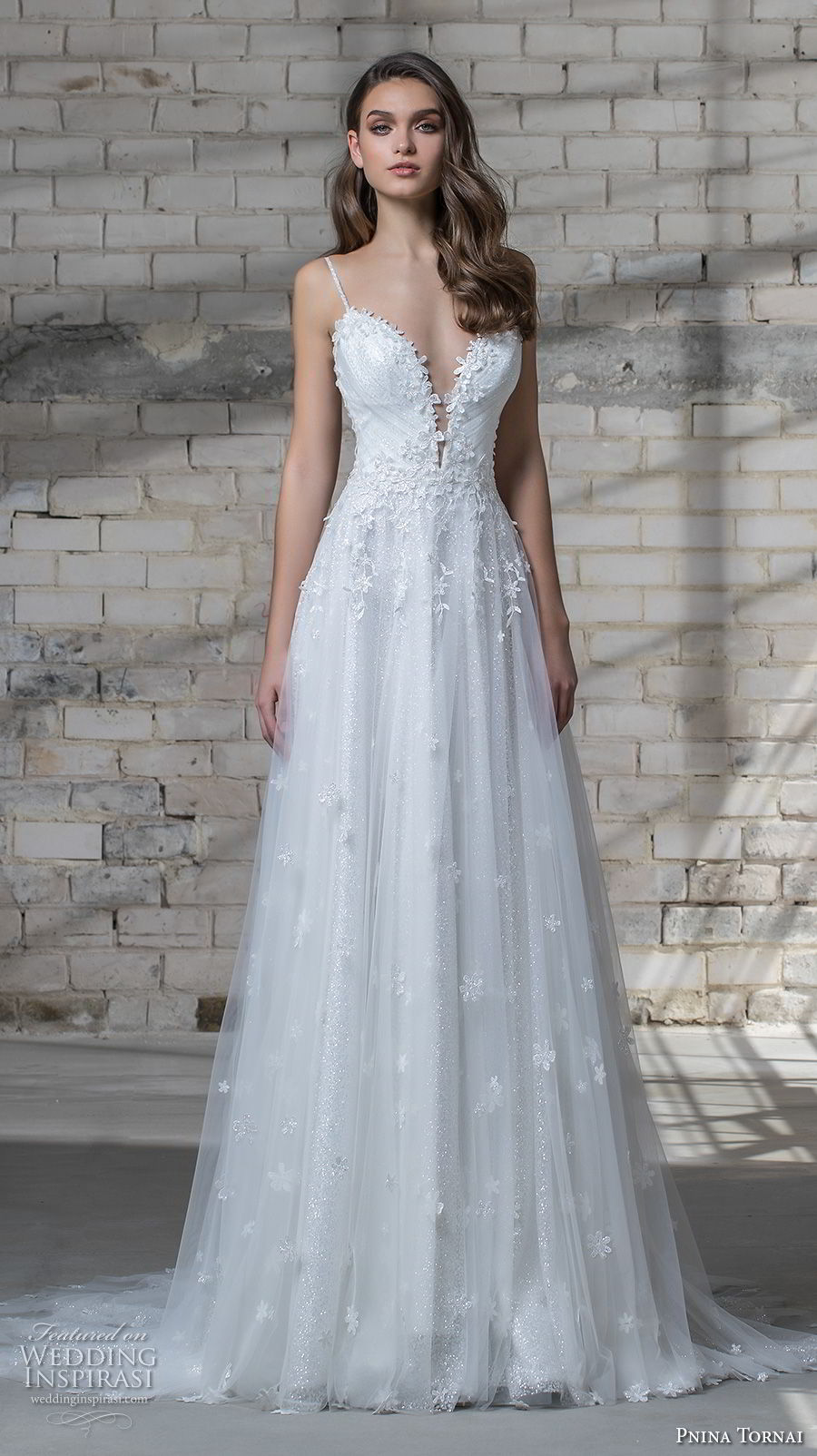 pnina tornai 2019 love bridal spaghetti strap deep sweetheart neckline heavily embellished bodice romantic a line wedding dress open back chapel train (6) mv