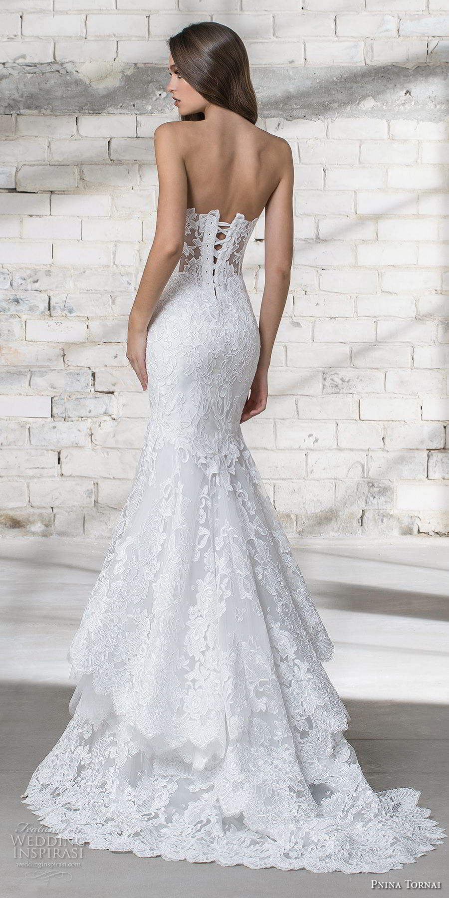 pnina tornai 2019 love bridal strapless deep plunging sweetheart neckline full embellished tiered skirt elegant romantic mermaid wedding dress corset back sweep train (14) bv