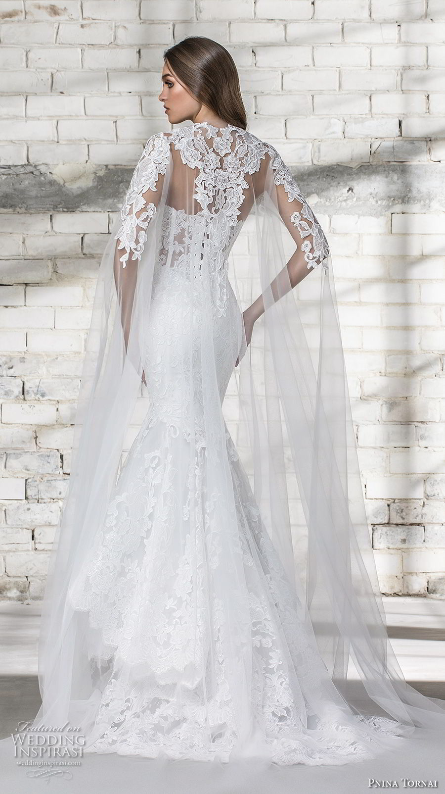 pnina tornai 2019 love bridal strapless deep plunging sweetheart neckline full embellished tiered skirt elegant romantic mermaid wedding dress with cape corset back sweep train (14) bv