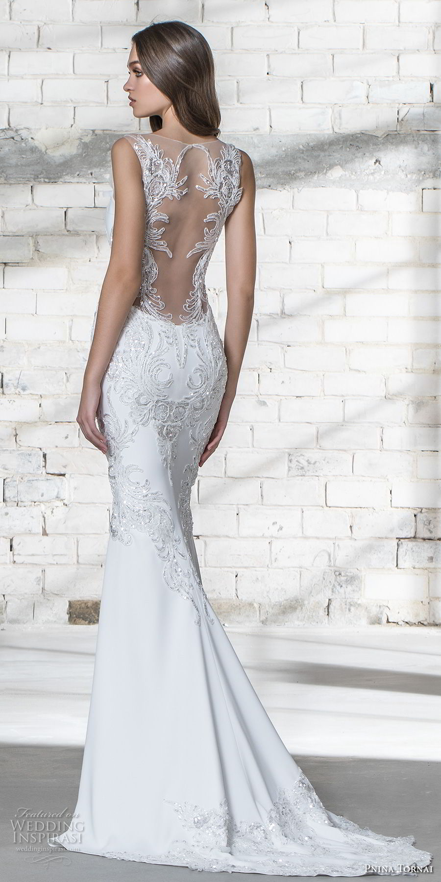 pnina tornai 2019 love bridal strapless deep plunging sweetheart neckline heavily embellished bodice glitzy romantic elegant sheath wedding dress sheer lace back chapel train (1) bv