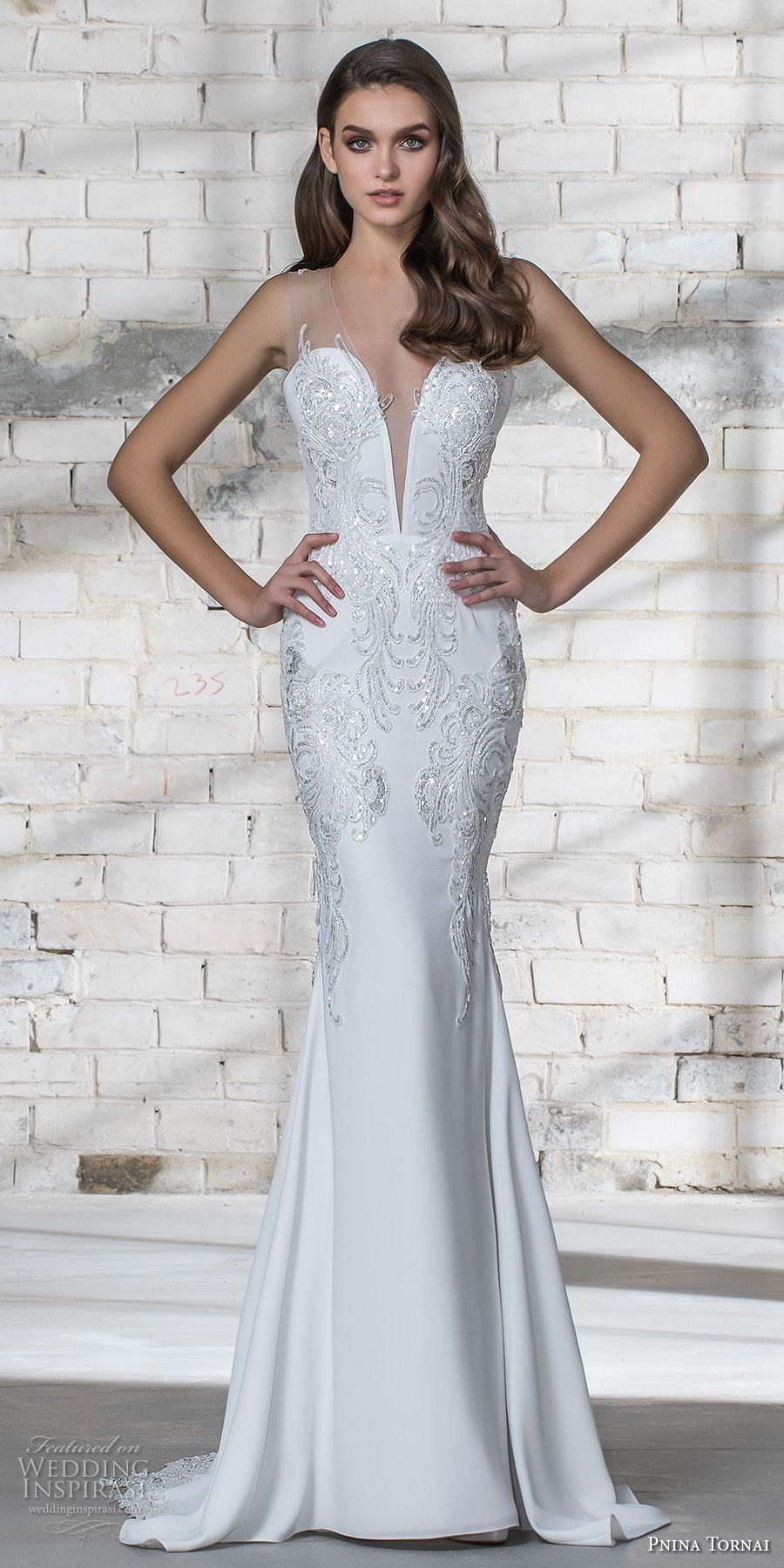 pnina tornai 2019 love bridal strapless deep plunging sweetheart neckline heavily embellished bodice glitzy romantic elegant sheath wedding dress sheer lace back chapel train (1) mv