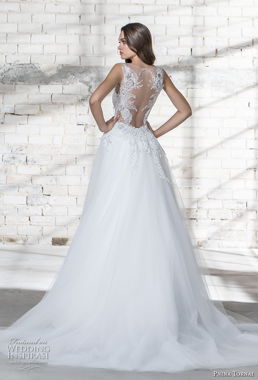 pnina tornai 2019 love bridal strapless deep plunging sweetheart neckline heavily embellished bodice glitzy romantic sheath wedding dress a line overskirt sheer lace back chapel train (1) bv