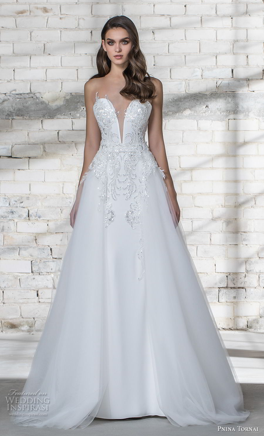 pnina tornai 2019 love bridal strapless deep plunging sweetheart neckline heavily embellished bodice glitzy romantic sheath wedding dress a line overskirt sheer lace back chapel train (1) mv