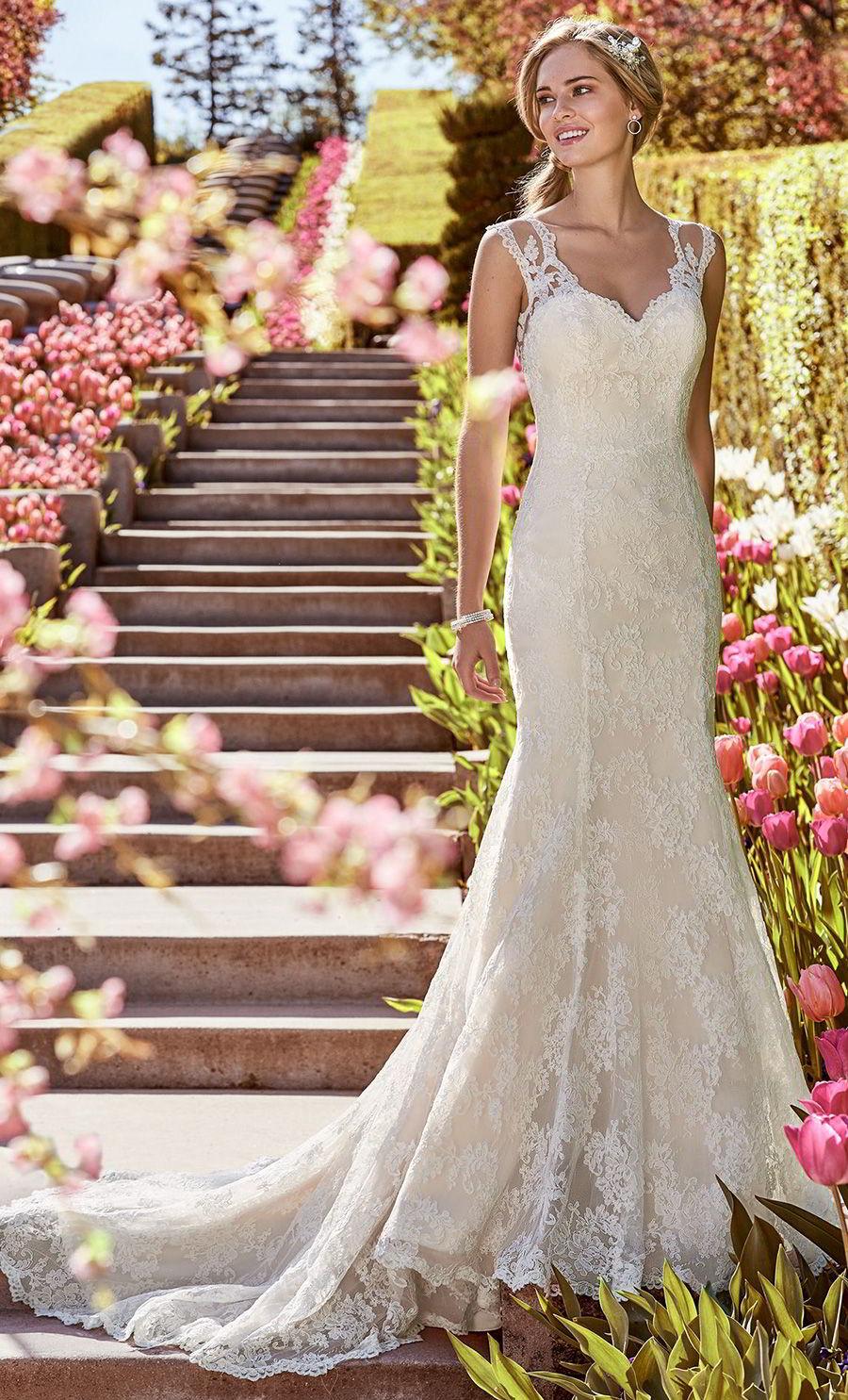 rebecca ingram 2018 gold wedding dresses (shirley) illusion cap sleeves sweetheart fit flare lace wedding dress mv elegant light gold color