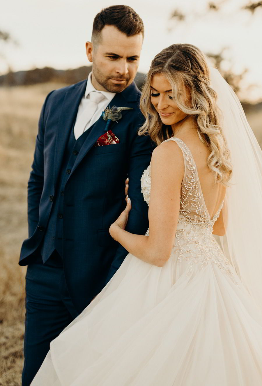 sottero midgley 2018 gold dress (amelie) sleeveless illusion vneck ball gown wedding dress colegarrettphotography photo bride melissa navy suit groom zv