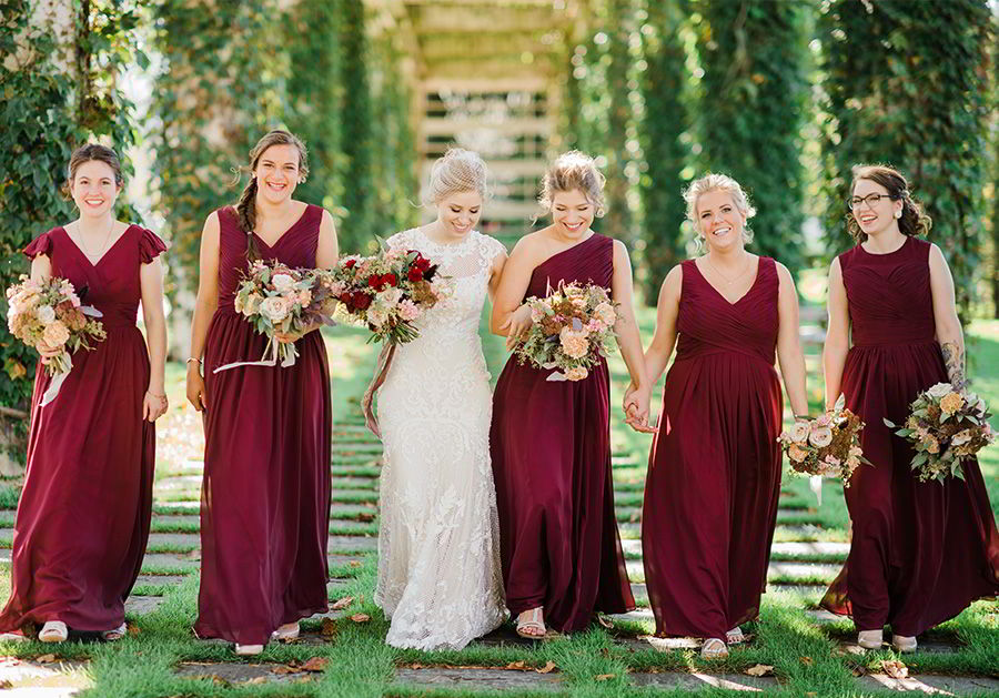 sottero midgley 2018 gold wedding dress (suzanne) burgundy bridesmaids cap sleeve crew neck sheath wedding gown rebeccashehorn photo bride caroline theme