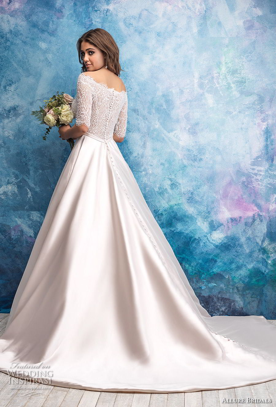 allure bridals fall 2018 bridal off the shoulder half sleeves straight across neckline heavily embellished bodice satin skirt romantic a  line wedding dress lace back chapel train (13) bv