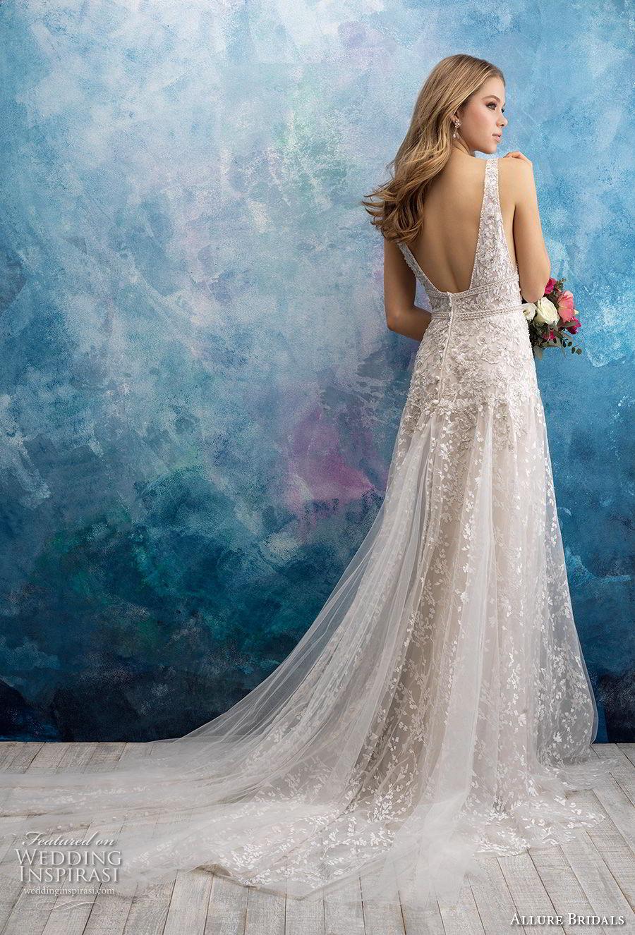 allure bridals fall 2018 bridal sleeveless deep v neck full embellishment elegant modified a  line wedding dress open back chapel train (11) bv
