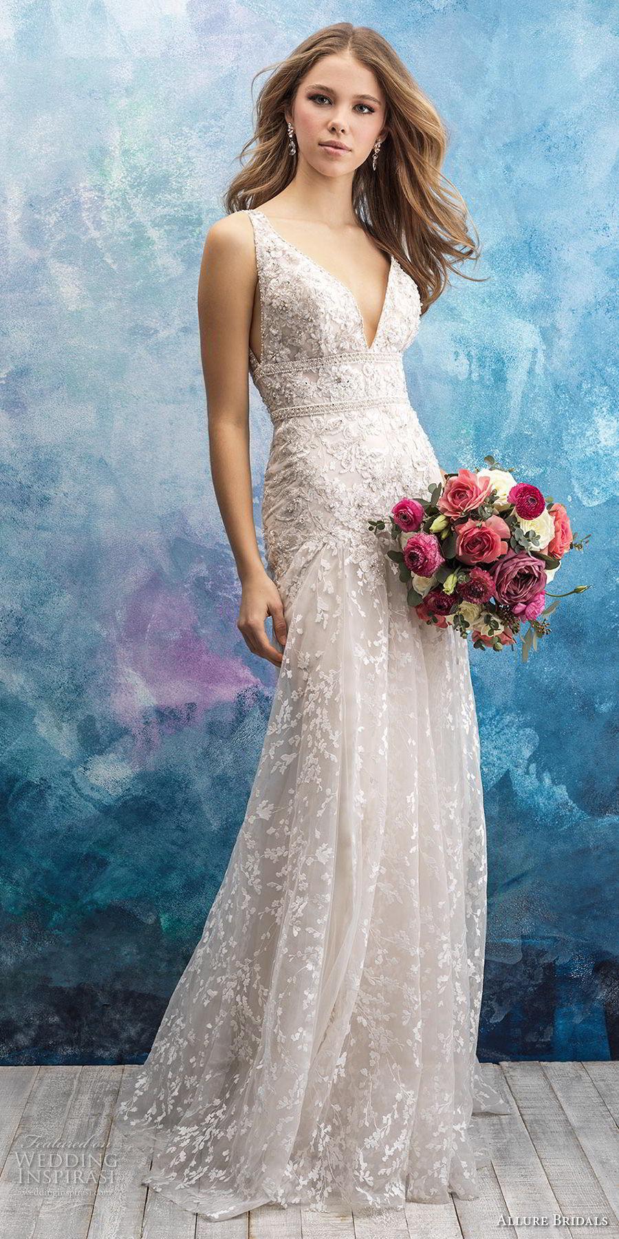 allure bridals fall 2018 bridal sleeveless deep v neck full embellishment elegant modified a  line wedding dress open back chapel train (11) mv