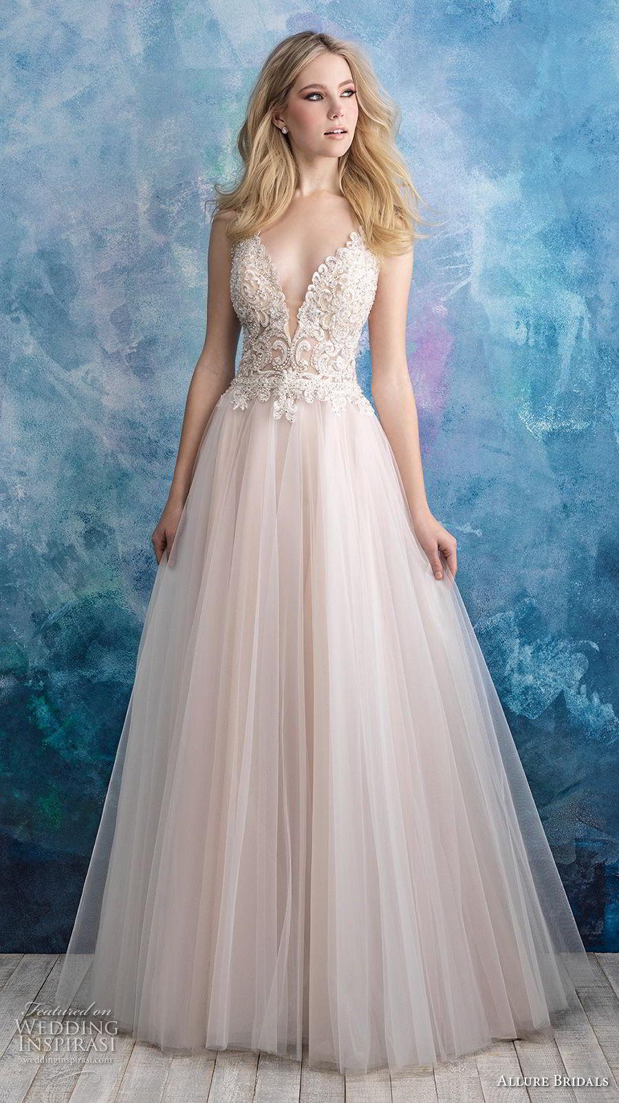 allure bridals fall 2018 bridal sleeveless deep v neck heavily embellished bodice tulle skirt romantic blush a  line wedding dress open back chapel train (2) mv
