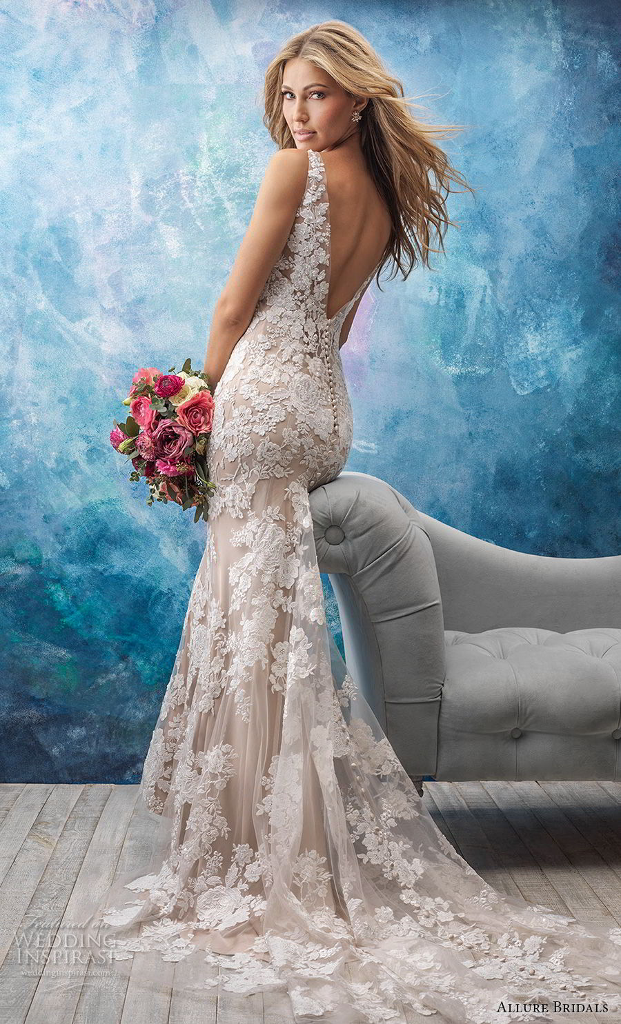 allure bridals fall 2018 bridal sleeveless v neck full embellishment elegant fit and flare wedding dress open v back chapel train (1) bv