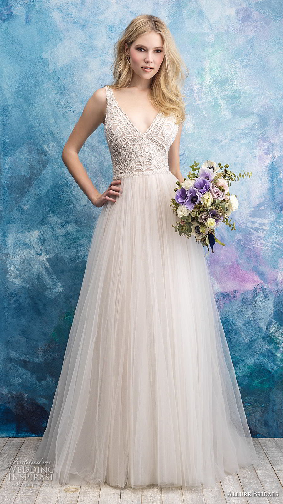allure bridals fall 2018 bridal sleeveless v neck heavily embellished bodice tulle skirt romantic a  line wedding dress open back chapel train (7) mv