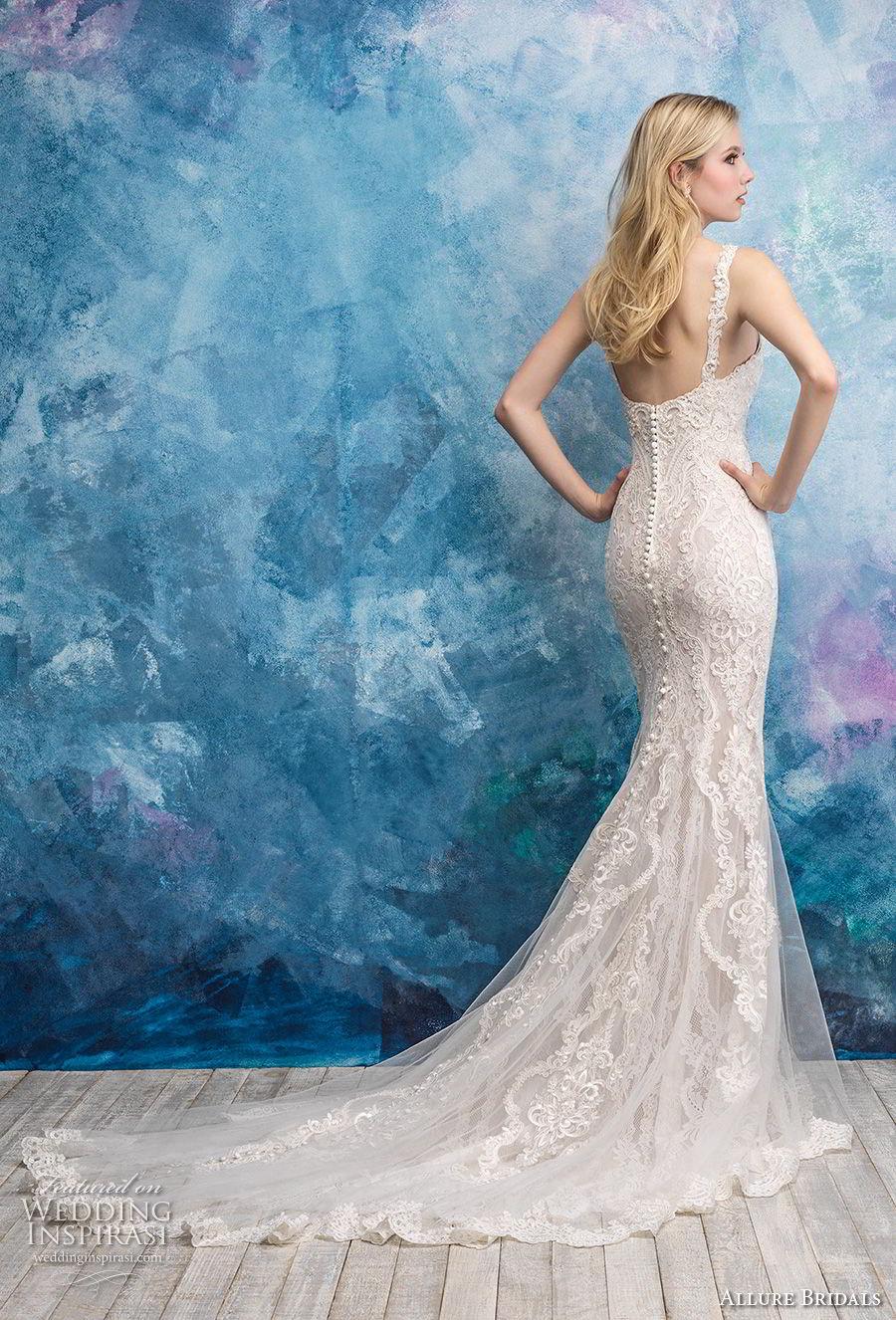allure bridals fall 2018 bridal sleeveless with strap v neck full embellishment elegant sheath wedding dress mid back chapel train (12) bv