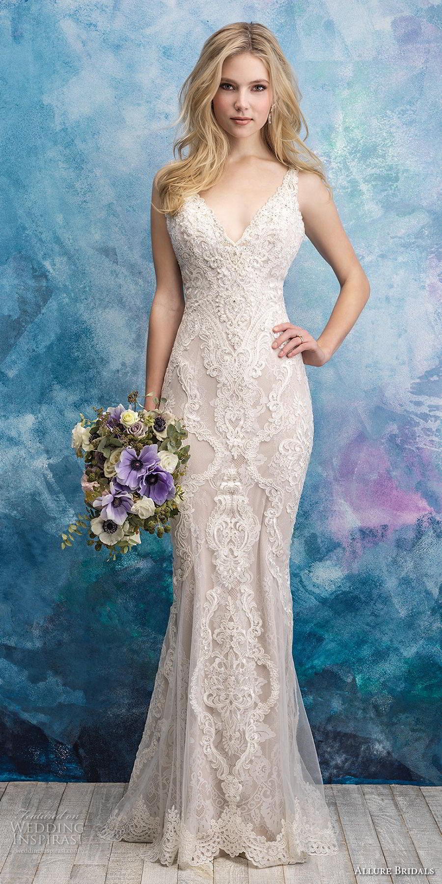 allure bridals fall 2018 bridal sleeveless with strap v neck full embellishment elegant sheath wedding dress mid back chapel train (12) mv