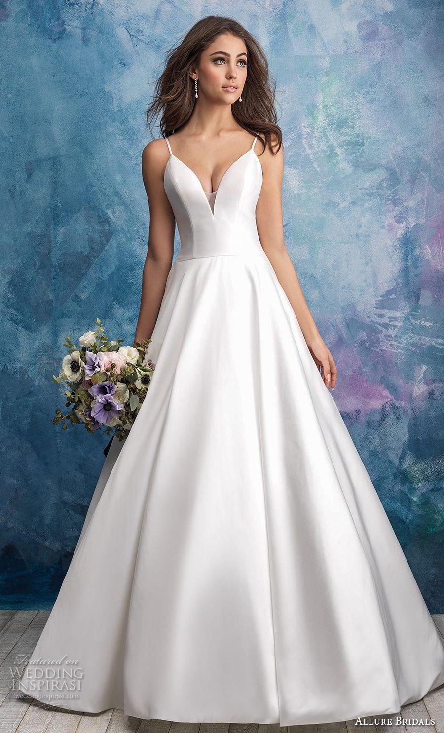 allure bridals fall 2018 bridal spaghetti strap deep sweetheart neckline simple minimalist romantic a  line wedding dress open scoop back chapel train (9) mv