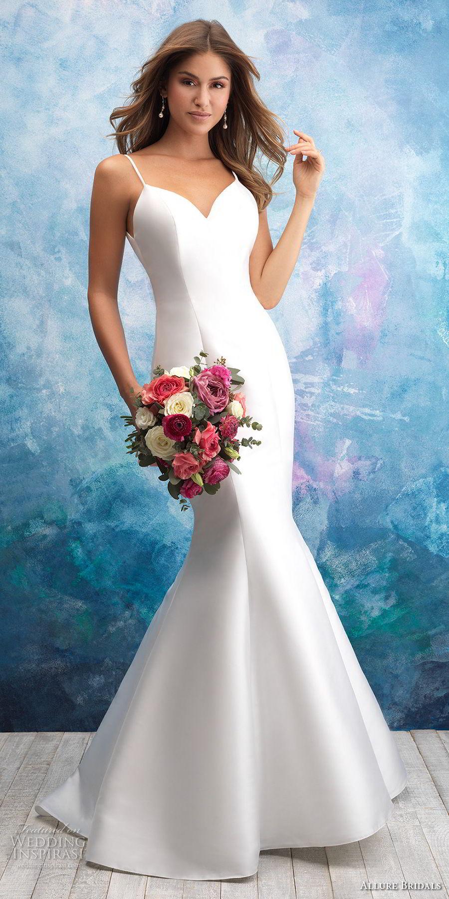 allure bridals fall 2018 bridal spaghetti strap sweetheart neckline simple minimalist eelgant mermaid wedding dress open back chapel train (15) mv