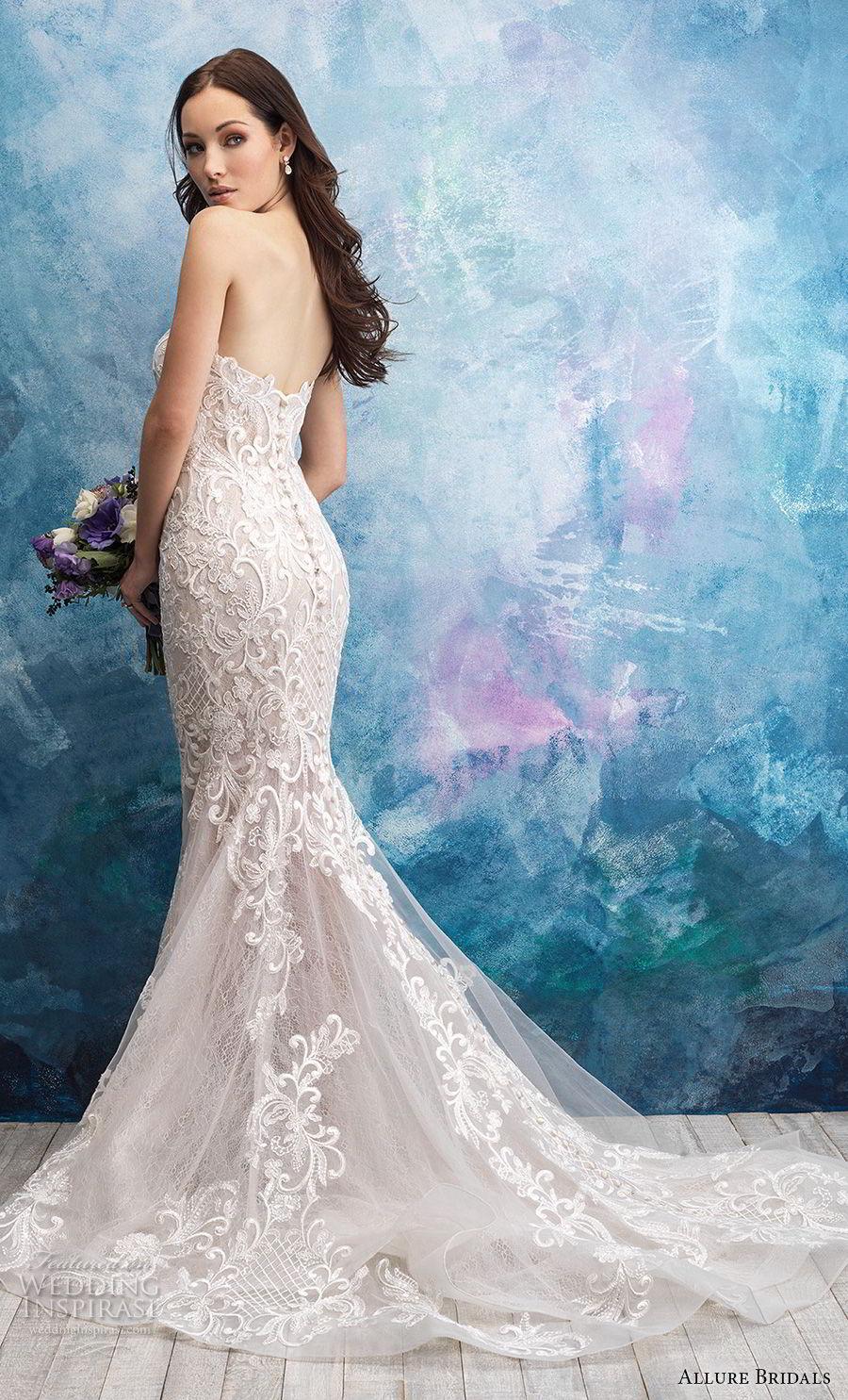 allure bridals fall 2018 bridal strapless sweetheart neckline full embellishment elegant mermaid wedding dress chapel train (8) bv