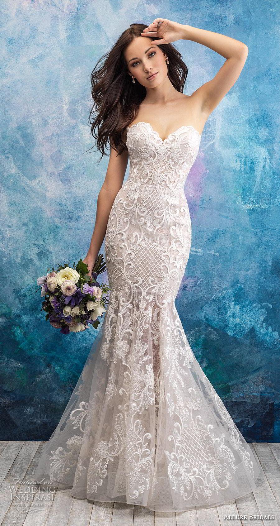 allure bridals fall 2018 bridal strapless sweetheart neckline full embellishment elegant mermaid wedding dress chapel train (8) mv