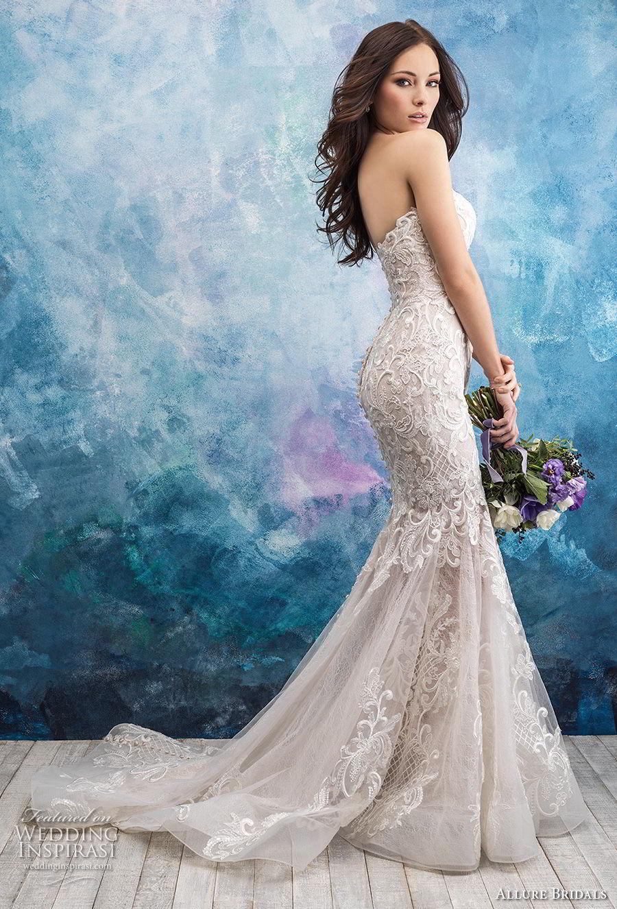 allure bridals fall 2018 bridal strapless sweetheart neckline full embellishment elegant mermaid wedding dress chapel train (8) sdv