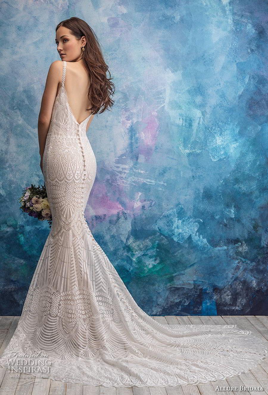 allure bridals fall 2018 bridal thin strap sweetheart neckline full embellishment elegant sheath fit and flare wedding dress open back chapel train (19) bv
