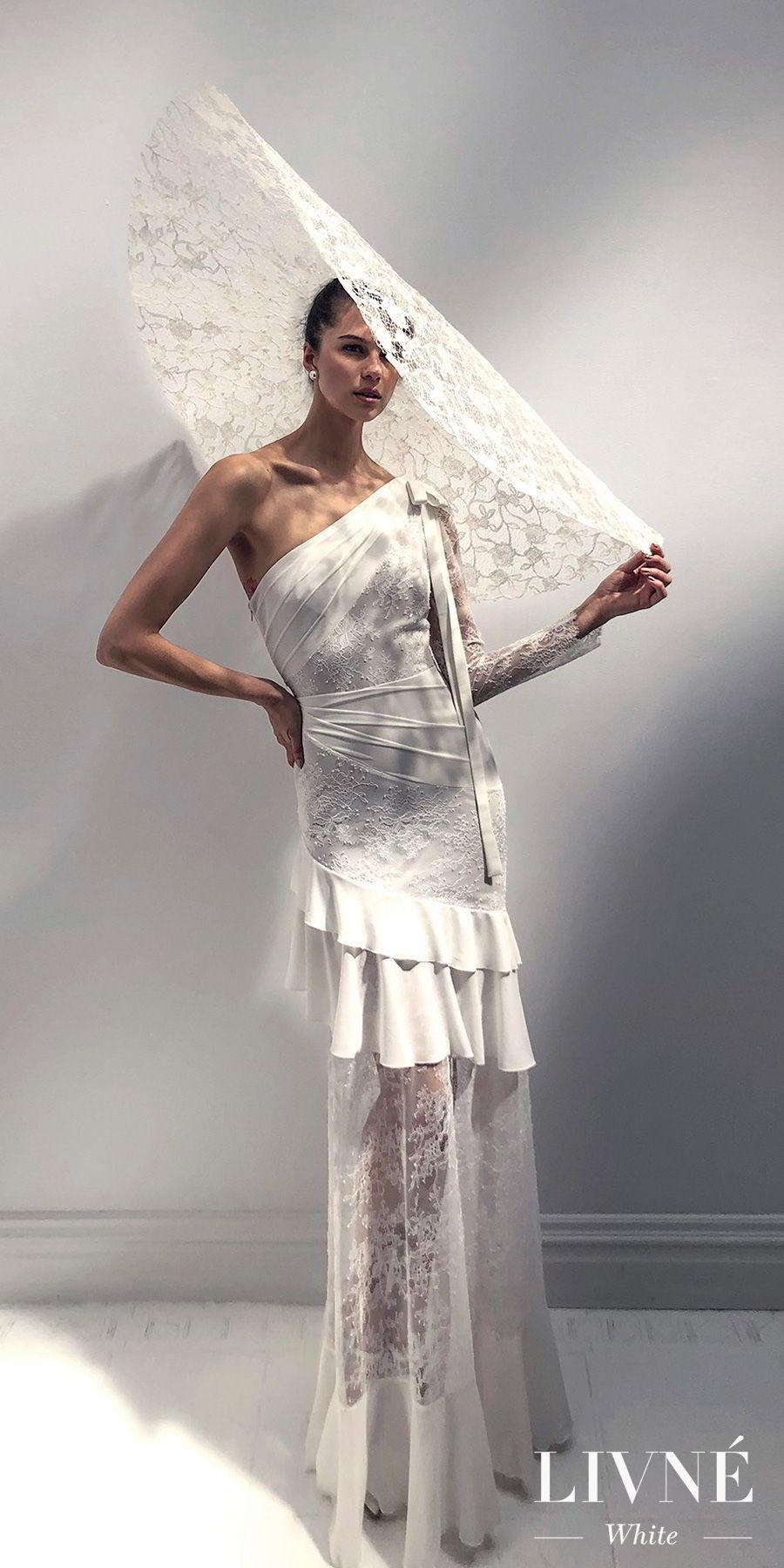alon livne 2018 2019 white bridal asymmetrical one shoulder long sleeves ruffled skirt bohemian sheath wedding dress with mandy hat sweep train (sophia) mv