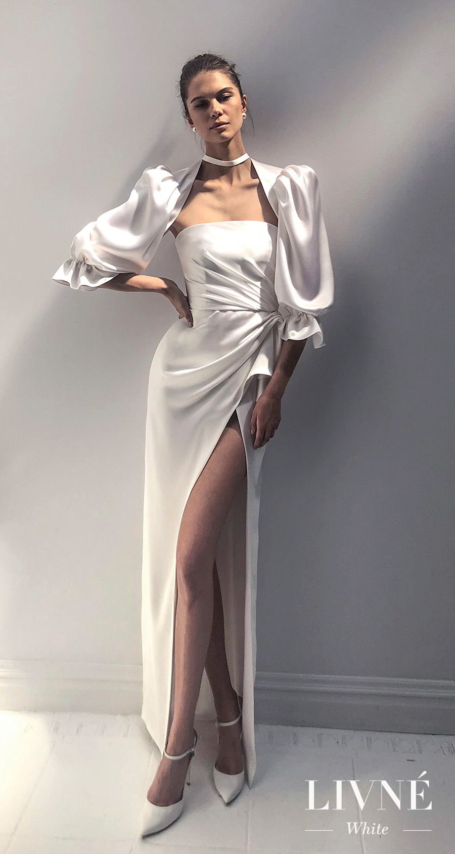 alon livne 2018 2019 white bridal half balloon sleeves straight across neckline simple minimalist high slit skirt elegant sheath wedding dress (jackie) mv
