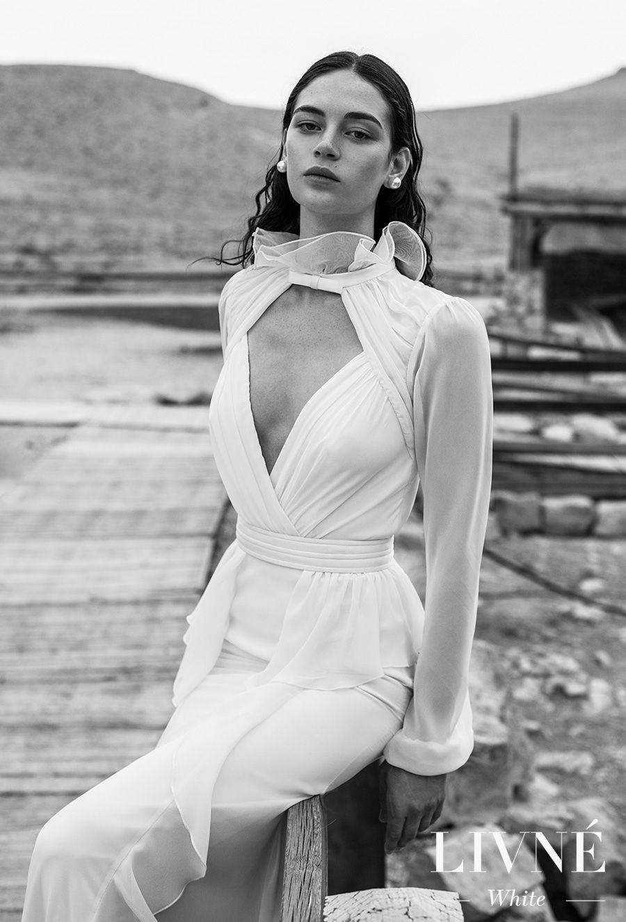 alon livne 2018 2019 white bridal long bishop sleeves high neck keyhole bodice wrap over simple elegant modified wedding dress keyhole back (nancy) mv