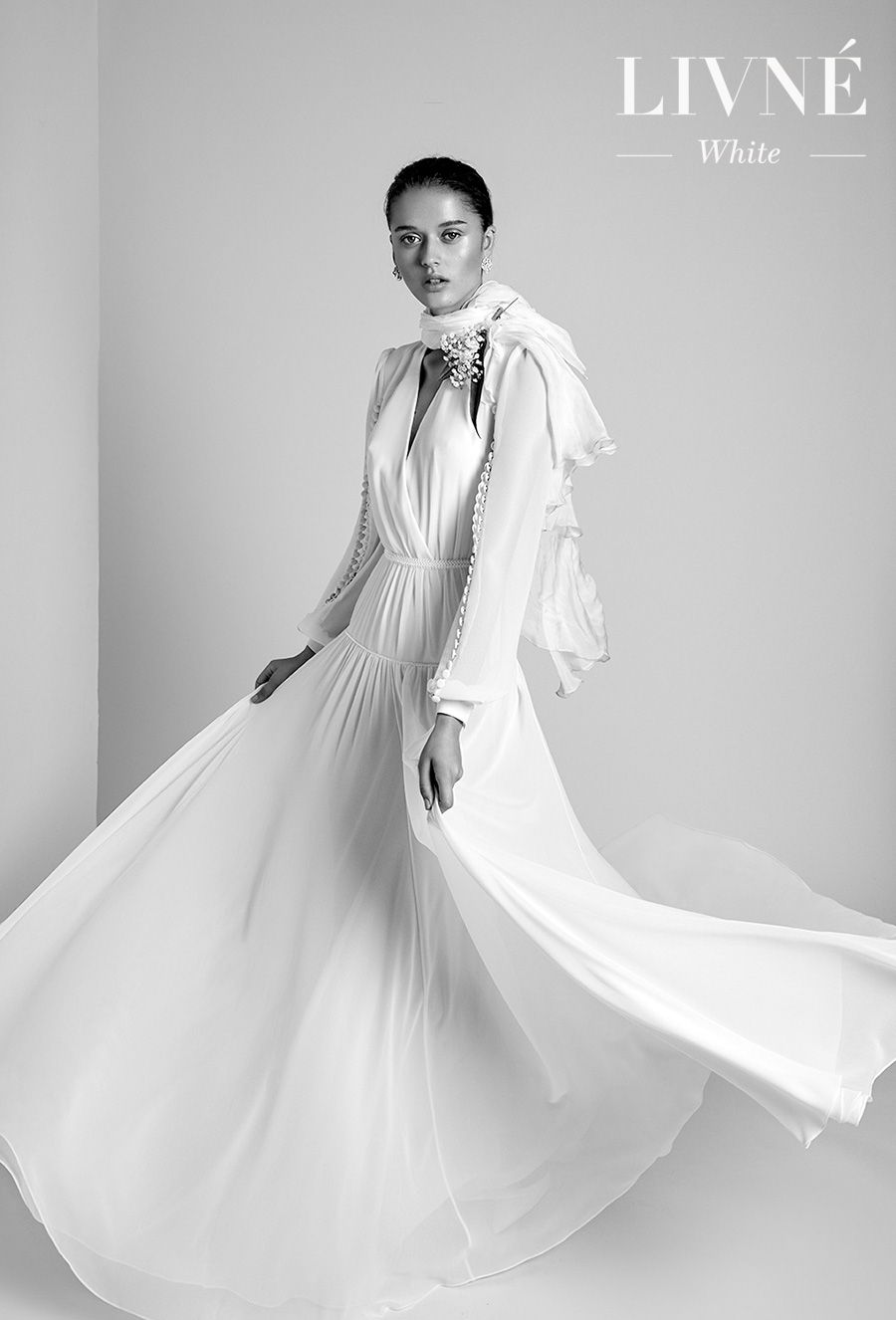 alon livne 2018 2019 white bridal long bishop sleeves v neck wrap over bodice simple clean bohemian romantic soft a  line wedding dress (nina) mv