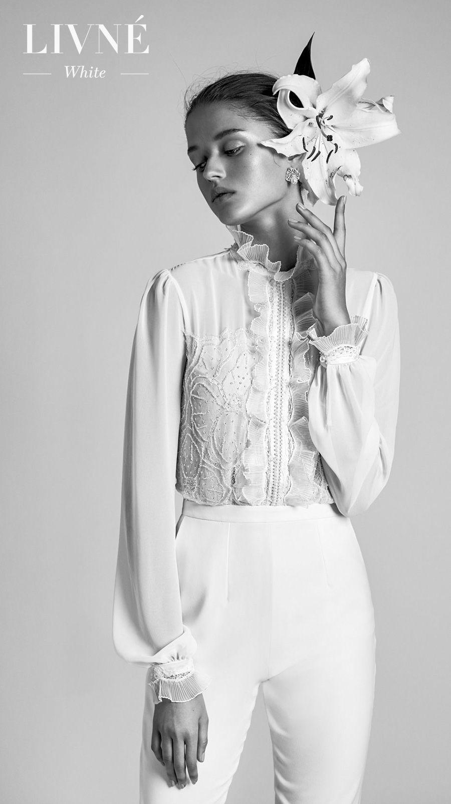 alon livne 2018 2019 white bridal long poet sleeves high neck heavily embellished bodice modern shirt and pants wedding dress (valencia) mv