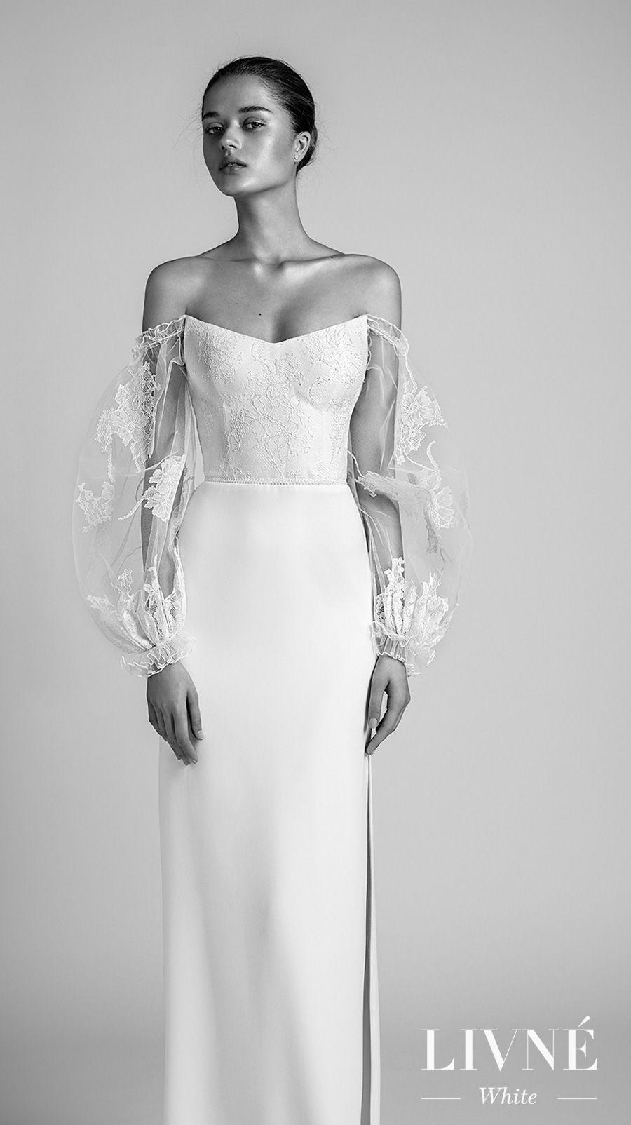 alon livne 2018 2019 white bridal long poet sleeves strapless semi v neck light embellished bodice high slit skirt elegant sheath wedding dress (rita) mv