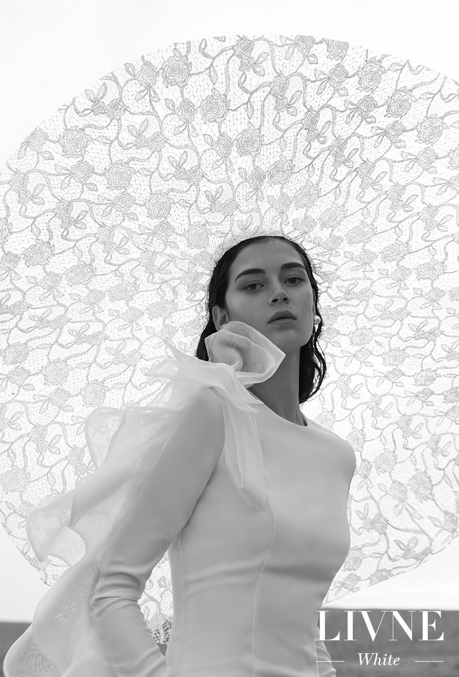 alon livne 2018 2019 white bridal long sleeves jewel neck clean simple minimalist elegant modern sheath wedding dress with mandy hat (melissa) mv
