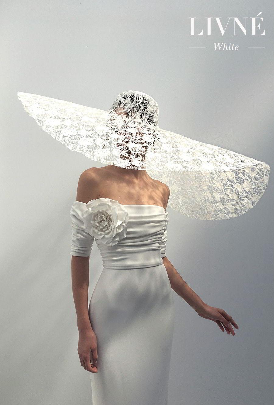 alon livne 2018 2019 white bridal off the shoulder half sleeves straight across neckline ruched bodice simple elegant modified a  line wedding dress sweep train (celine) mv