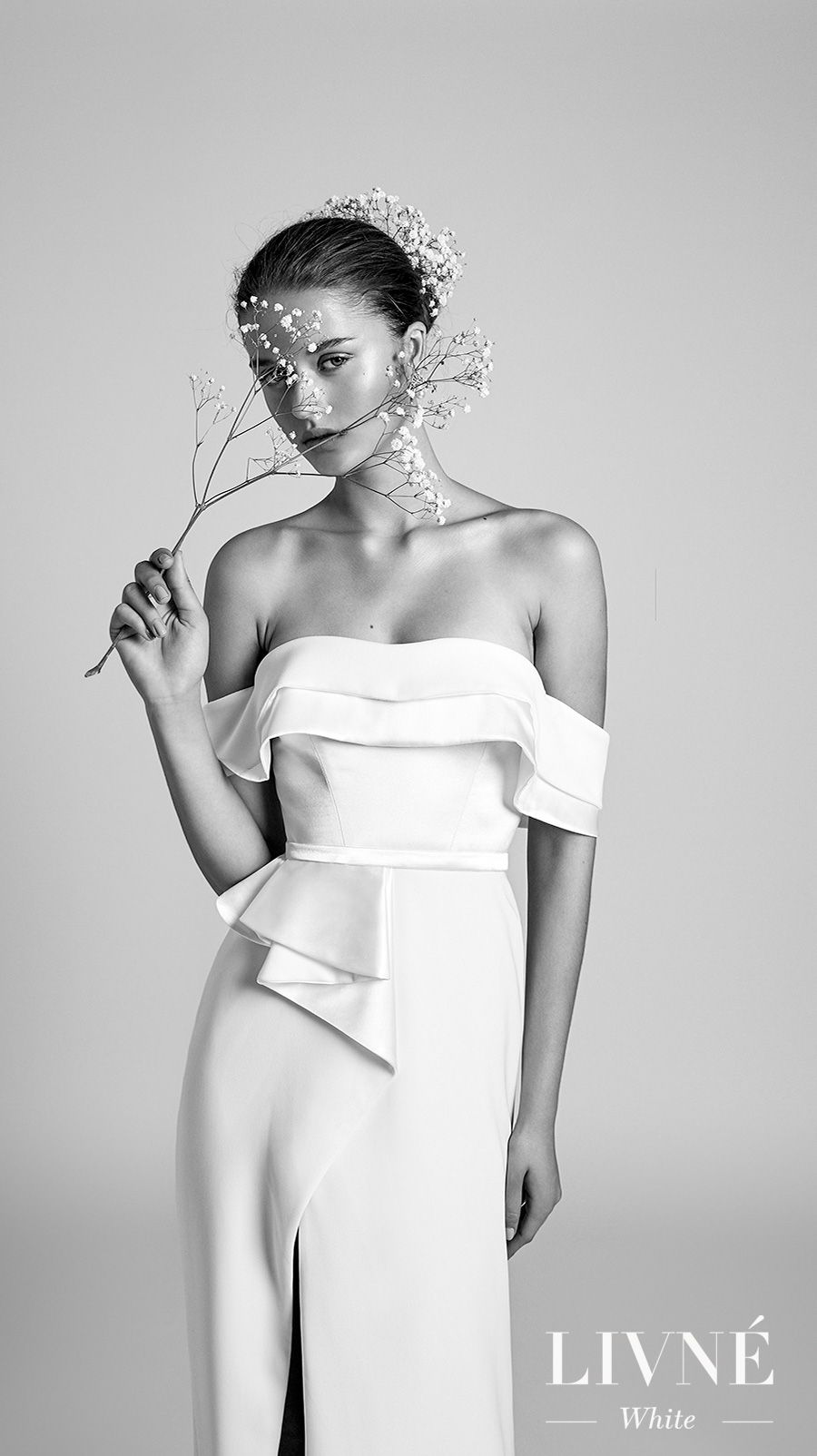 alon livne 2018 2019 white bridal off the shoulder semi sweetheart neckline simple minimalist high slit skirt modern elegant sheath wedding dress sweep train (cherry) mv